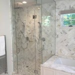 Modern bathroom remodel shower frameless glass door